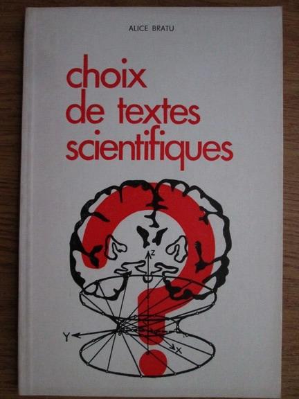 Anticariat: Alice Bratu - Choix de textes scientifiques