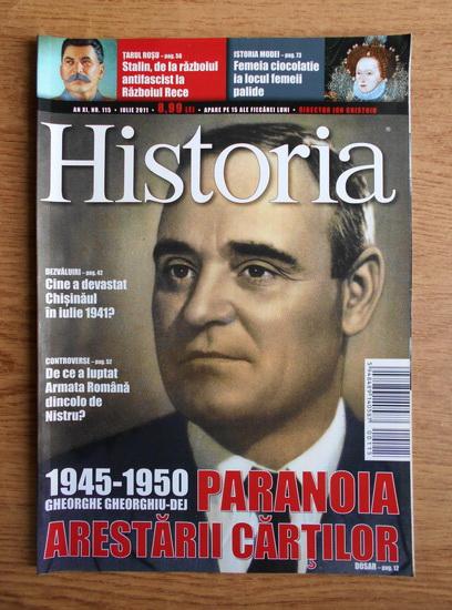 Anticariat: Revista Historia. Paranoia arestarii cartilor, an XI, nr. 115, iulie 2011