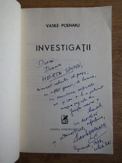 Anticariat: Vasile Poenaru - Investigatii (cu autograful autorului)