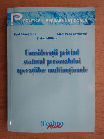 Anticariat: Paul Danut Duta - Consideratii privind statutul personalului operatiilor multinationale