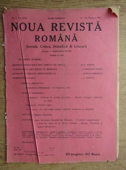 Anticariat: C. Radulescu-Motru - Noua Revista Romana. Sociala, critica, stiintifica si literara, vol. XVIII, nr. 1, 21-28 februarie 1916
