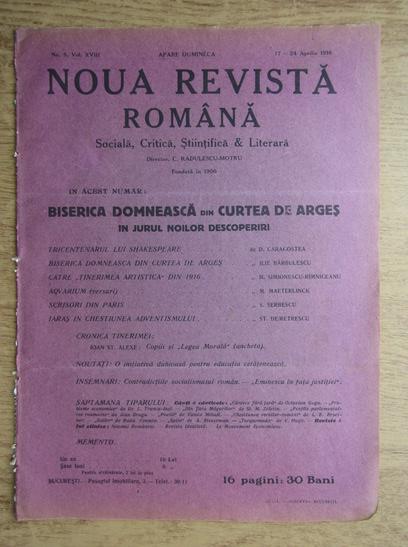 Anticariat: C. Radulescu-Motru - Noua Revista Romana. Sociala, critica, stiintifica si literara, vol. XVIII, nr. 5, 17-24 aprilie 1916