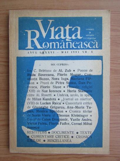 Anticariat: Revista Viata Romaneasca, anul LXXXVI, mai, nr. 5, 1991