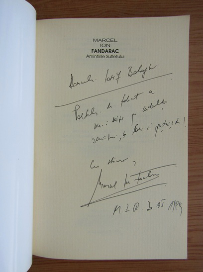 Anticariat: Marcel Ion Fandarac - Amintirile sufletului (cu autograful si dedicatia autorului pentru Balogh Jozsef)