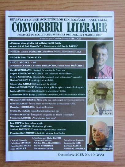 Anticariat: Revista Convorbiri Literare, nr. 10 (238), octombrie 2015