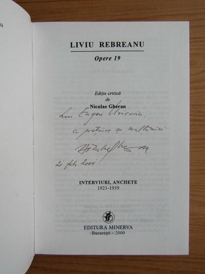 Anticariat: Liviu Rebreanu - Opere (volumul 19, cu autograful si dedicatia lui Niculae Gheran)