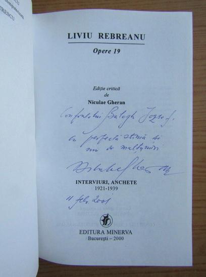 Anticariat: Liviu Rebreanu - Opere (cu dedicatia si autograful lui Nicolae Gheran pentru Balogh Jozsef, volumul 19)