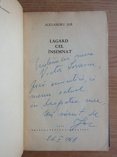 Anticariat: Alexandru Jar - Lagard cel insemnat (cu autograful autorului)