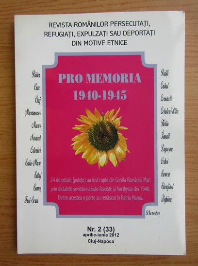 Anticariat: Revista Pro Memoria, nr. 2 (33), aprilie-iunie 2012