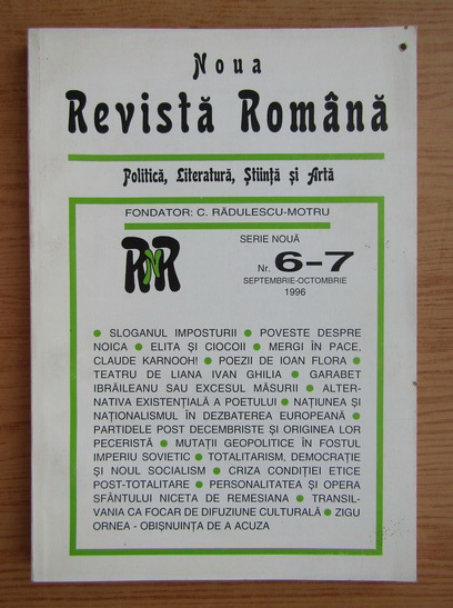 Anticariat: Noua revista romana, nr. 6-7, septembrie-octombrie 1996