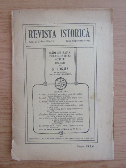 Anticariat: Revista istorica, anul XI, nr. 7-9, iulie-septembrie 1925