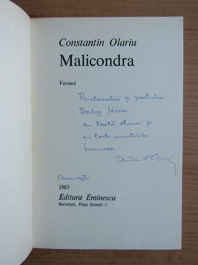 Anticariat: Constantin Olariu - Malicondra (cu autograful si dedicatia autorului pentru Balogh Jozsef)