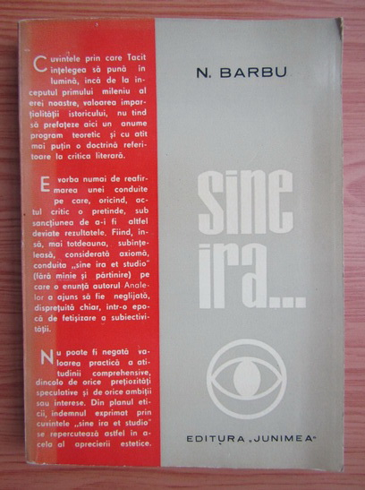 Anticariat: N. I. Barbu - Sine ira..