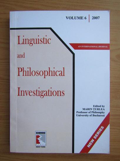 Anticariat: Linguistic and philosophical investigations (volumul 6)