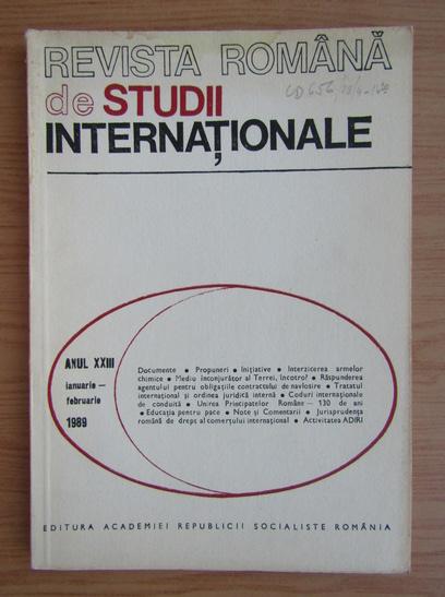 Anticariat: Revista Romana de Studii Internationale, anul XXIII, ianuarie-februarie 1989