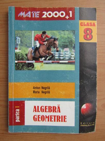 Anticariat: Anton Negrila - Algebra, geometrie. Clasa a VIII-a, partea I (2001)