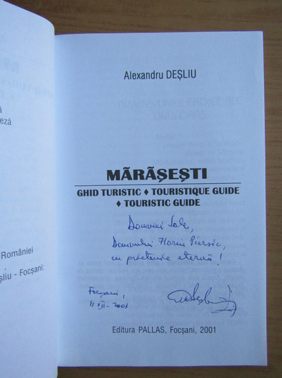 Anticariat: Alexandru Desliu - Marasesti. Ghid turistic (cu autograful autorului)