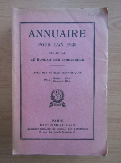 Anticariat: Annuaire pour l'an 1935