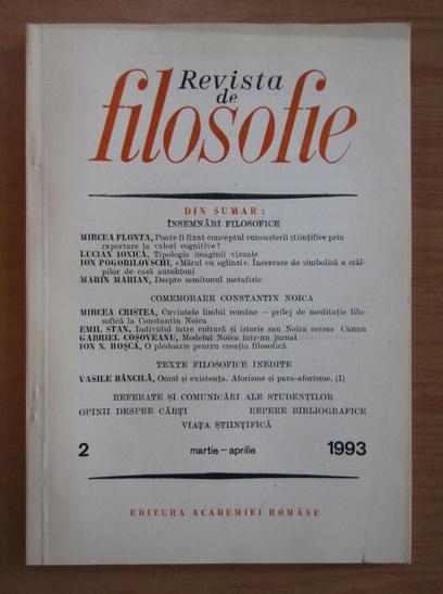 Anticariat: Revista de Filosofie, tomul XL, nr. 2,  martie-aprilie 1993