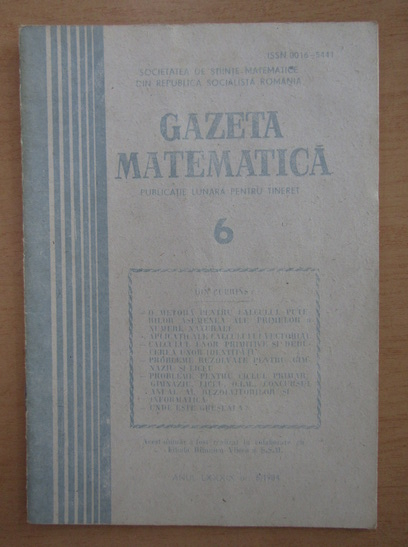 Anticariat: Gazeta Matematica, anul LXXXIX, nr. 6, 1984