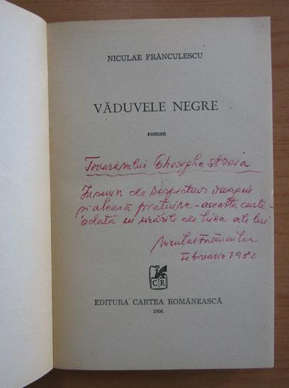 Anticariat: Niculae Franculescu - Vaduvele negre (cu autograful autorului)