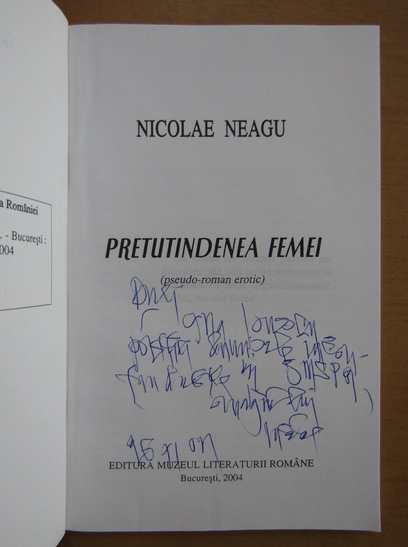 Anticariat: Nicolae Neagu - Pretutindenea femei (cu autograful autorului)