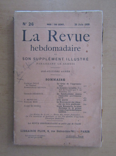 Anticariat: Revista La Revue hebdomadaire, nr. 26, iunie 1909