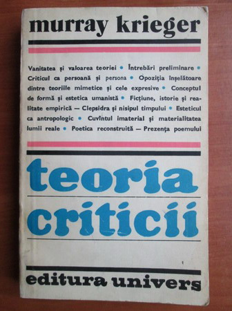 Anticariat: Murray Krieger - Teoria criticii