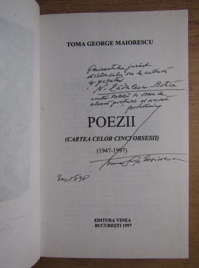 Anticariat: Toma George Maiorescu - Poezii (Cartea celor cinci obsesii) (cu autograful autorului)