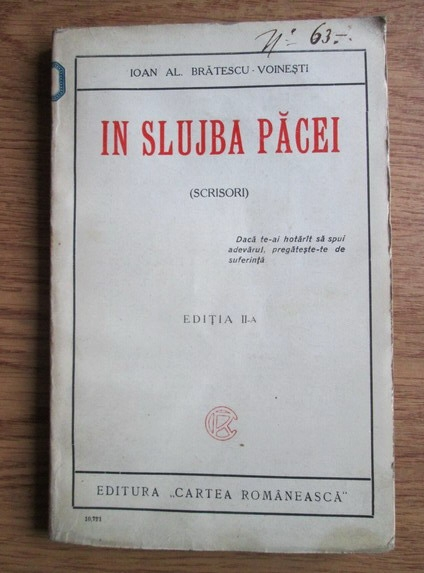 Anticariat: Ioan Alexandru Bratescu Voinesti - In slujba pacei. Scrisori (1925)