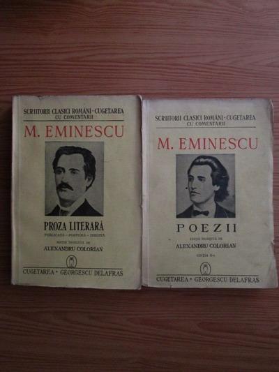 Anticariat: Mihai Eminescu - Proza literara. Poezii (2 volume, 1942)
