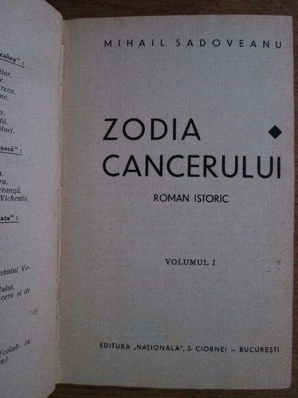 Anticariat: Mihail Sadoveanu - Zodia cancerului (volumul 1, 1929)