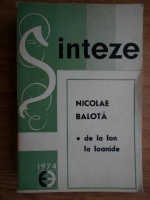 Anticariat: Nicolae Balota - De la Ion la Ioanide