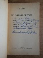Anticariat: I. D. Balan - Delimitari critice (cu autograful autorului)