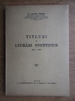 Anticariat: Valeriu Tempea - Titluri si lucrari stiintifice (1942)