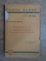 Anticariat: Gheorghe Sincai - Cronica romanilor si a mai multor neamuri (1944)