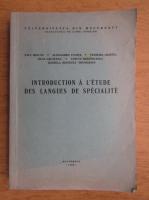 Introduction a l'etude des langues de specialite