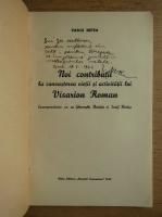 Anticariat: Vasile Netea - Noi contributii la cunoasterea vietii si activitatii lui Visarion Roman (cu autograful autorului, 1942)