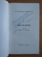 Ion Constantinescu Maracineanu - Sete de jaratec (cu autograful autorului)