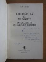 Anticariat: Ion Ianosi - Literatura si filosofie. Interactiuni in cultura romana (cu autograful autorului)