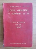 Anticariat: Constantin Hamangiu - Codul general al Romaniei (volumul 23, 1935)