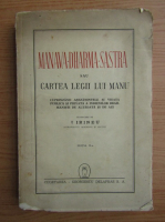 Anticariat: Manava-Dharma-Sastra sau Cartea Legii lui Manu (1944)