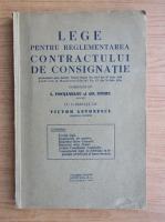 Adolf Stern - Lege pentru reglementarea contractului de consignatie (1934)