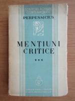 Anticariat: Perpessicius - Mentiuni critice (volumul 3, 1936)