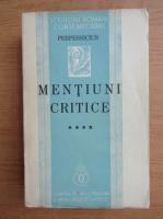 Anticariat: Perpessicius - Mentiuni critice (volumul 4, 1938)