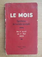 Anticariat: Le mois. Synthese de l'activite mondiale (1938)