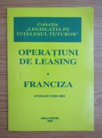 Anticariat: Operatiuni de leasing. Franciza
