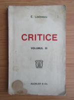 Anticariat: Eugen Lovinescu - Critice (volumul 3, 1920)