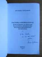 Anticariat: Ana Maria Capalneanu - Factorul informational in invatamant si cercetare in contextul modernizarii (volumul 1, cu autograful autoarei)