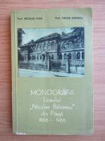Anticariat: Tudor Popescu - Monografia Liceului Nicolae Balcescu din Pitesti, 1866-1966
